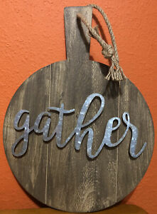 """18"""" x 13.25"""" Wooden """"gather"""" Wall Decor Galvanized Steel Lettering Rope Hanger"""
