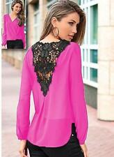Women Sexy V-neck Tops Loose Long Sleeve T-shirt Casual Lace Splice Blouse H3