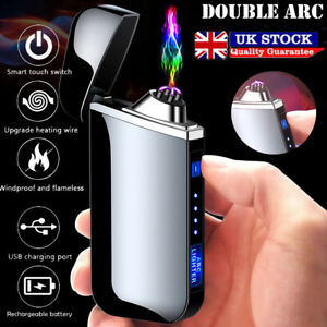 Windproof Electric USB Metal Lighter Rechargeable Dual Arc Flameless Touch Gift