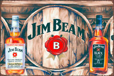 Jim beam black white bottles beverage bar brand new.  tin metal sign MAN CAVE