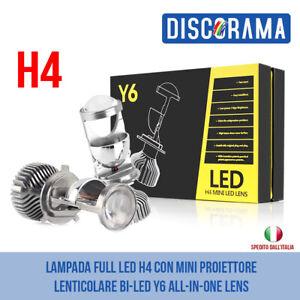 LAMPADA FULL LED H4 CON MINI PROIETTORE LENTICOLARE BI-LED Y6 ALL-IN-ONE LENS