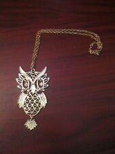 Metal Large Owl Pendant Chain Necklace