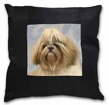 Shih Tzu Dog Black Border Satin Feel Cushion Cover With Pillow Inser, AD-SZ9-CSB