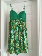 New Size 8 Green Satin Strappy Jewelled Sun Dress
