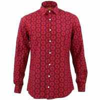 Mens Shirt Loud Originals TAILORED FIT Dots Red Retro Psychedelic Fancy