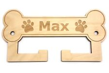 Personalised Dog Lead Holder - Wall Mounted, Gift for Dog Owner, Engraved Name