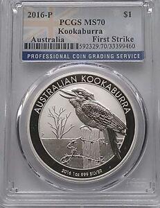 PCGS MS70 First Strike 2016-P Australia KOOKABURRA $1 Dollar Coin Silver 1oz 999