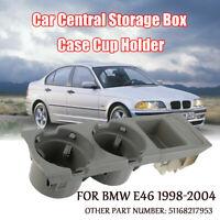 Grau Getränkehalter Mittelkonsole Ablagefach + Münzbox Für BMW E46 1998-2004