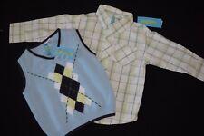 Boys Gymboree Yacht Club Sweater Vest Dress Shirt Green Blue Navy 18-24 Months M