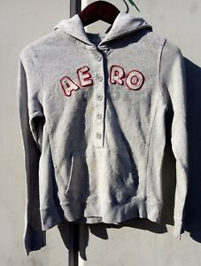 Aeropostale hoodie with buttons size large Long Sleeve vintage color gray