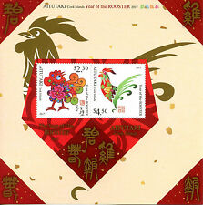 Aitutaki Cook Isl 2016 MNH Year of Rooster 2017 2v M/S Chinese New Year Stamps