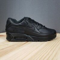 Nike Air Max 90 Leather Running Training Shoes Mens 9 NEW Triple Black :2171