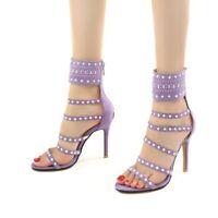 2019 Women Sandal Gladiator Stiletto Heels Open Toe Zipper Elegant Party Shoes