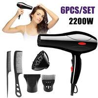 6Pcs 2200W Salon Coiffure Peigne Sèche-cheveux Hair Dryer Bouche À Vent Peignes