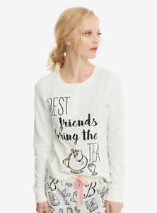 Disney Beauty & the Beast Belle Thermal Sleep Set Pajamas S-2X Best Friends Tea