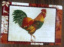Set of 4 Kitchen Vinyl NON CLEAR Placemats, ROOSTER FEATHER