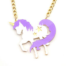 Exaggerated Unicorn Pendant Necklace Chain Jewellery Alloy Acrylic Fashion New