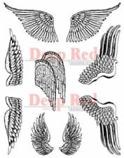Deep Red Rubber Cling Stamp Angel Flying Animals Gargoyle