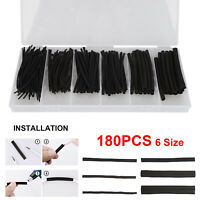 180x 3:1 Heat Shrink Tube Insulation Shrinkable Wire Cable Sleeve Black Kit