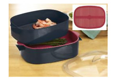 Tupperware Oval Stack Cooker Microwave Meal Maker Set + Recipes Red & Black New