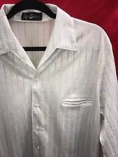 Vtg Alan Stuart Shiny Silver Rainbow Striped Shirt~Large~