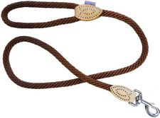 SOFT TOUCH ROPE LEAD IN BROWN BY DOG & CO - TRIGGER / LEATHER TABS / LARGE 48""