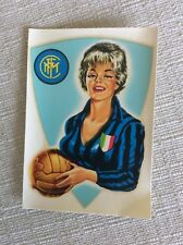 INTER F.C.  CALCIO ANNI '60 RARA DECALCOMANIA DONNA PIN UP CON MAGLIA E PALLONE