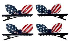 "Mini 2"" American Flag Alligator Hair Clips - 4 PC USA Bow Shaped Girls Hairpins"
