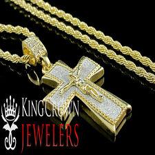 YELLOW GOLD FINISH MINI JESUS CRUCIFIX CROSS PENDANT CHARM CHAIN NECKLACE SET
