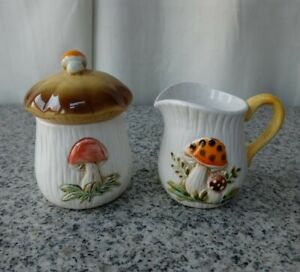Vintage Ceramic Cream And Suger Retro Mushrooms