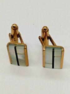 Vintage Gold Tone Cufflinks Mother of Pearl & Onyx inlay