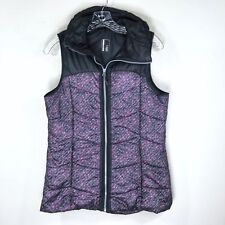 Mondetta Puffer Vest Floral Gray Purple Full Zip Front Pockets Athletic Size S