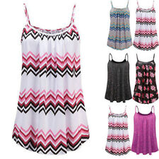 Ladies Womens Beach Holiday Slip Dress Cami Vest Swing Strappy Tank Tops Dress