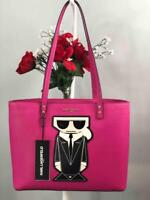 NWT KARL LAGERFELD Paris Fuchsia Saffiano Leather Maybelle Tote Shoulder Bag