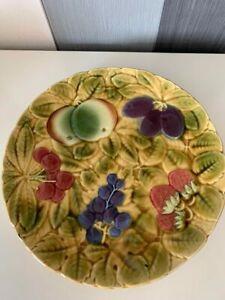 Vintage Antique Majolica Platter With Fruits Sarreguemines Signed Marked on Base