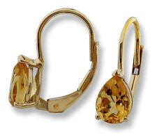 Drop Earrings 14k Yellow Gold Pear Shape Citrine Lever Backs