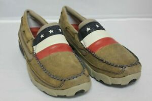 TWISTED X MENS DRIVING MOC MOCCASIN LEATHER AMERICAN FLAG BOMBER SLIP ON MMS006