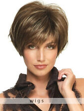 Fashion Women Short Brown Blonde Straight Hair Synthetic Cosplay Party Full Wigs