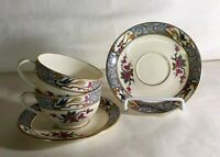 2 Lenox Ming Flat Cups And Saucers Black Backstamp
