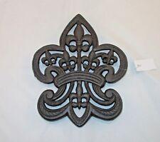 "Fleur De Lis Trivet Cast Iron Ornate Kitchen Decor Pot Holder Wall Art 9.5"""