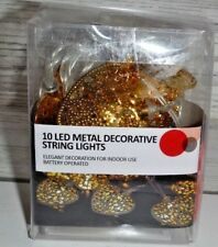 10 Mini Gold Metal Heart Shaped Led Fairy String Lights Christmas Party Garden