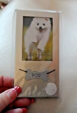 """Silver dog photo picture frame for 2"""" x 3"""" photo"""