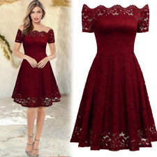 Women's Vintage Lace Wedding Short Prom Evening Cocktail Party Swing Dresses