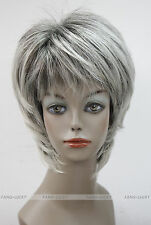 Excellent Dark Brown Gray Mixed Short Straight Women Ladies Daily wig FYTLD059