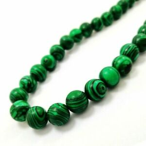NATURAL GREEN MALACHITE GEMSTONE 12MM ROUND BEADS SILVER PLATED NECKLACE JEWELRY