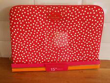 "KATE SPADE DESIGNER LAPTOP CASE SLEEVE 15"" Bag Softshell Red Spotty Macbook Pro"