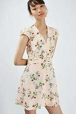 Topshop Nude Blush Peach Pink Floral Flippy Tea Dress - Size 6