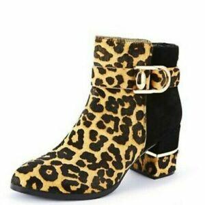 MODA IN PELLE Black Leopard Lanci Calf Hair Ankle Boots UK 8 *Need Zip Repair*