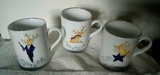 Set of 3 POTTERY BARN Reindeer Coffee Mugs Dasher Prancer Comet Stoneware