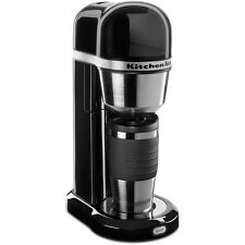 Onyx Black 4-Cup Removable Tank Personal Coffee Maker with Travel Thermal Mug